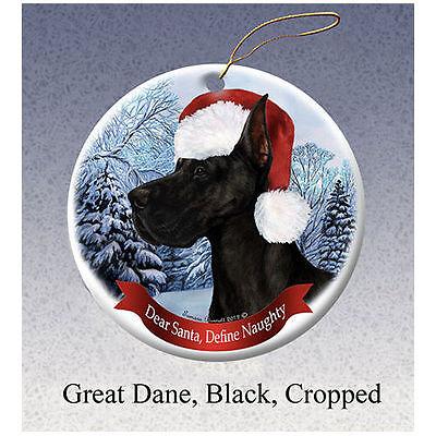 Great Dane Cropped Black Howliday Porcelain China Dog Christmas Ornament