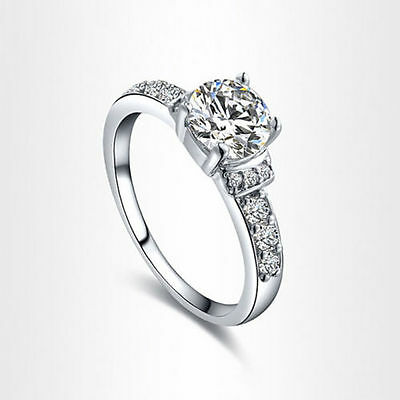 DVVS1 Diamond Engagement Ring 2 Carat Round Cut 14k White Gold Bridal Jewelry