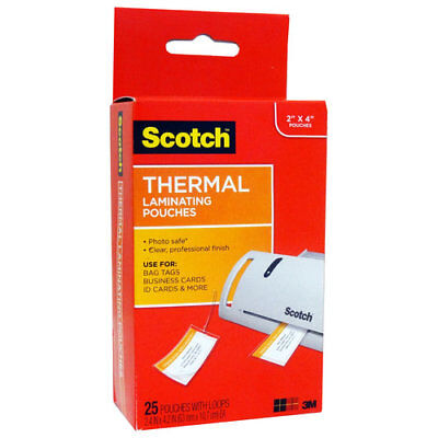 Scotch 3M Thermal Laminating Pouch with Loop 25 Count