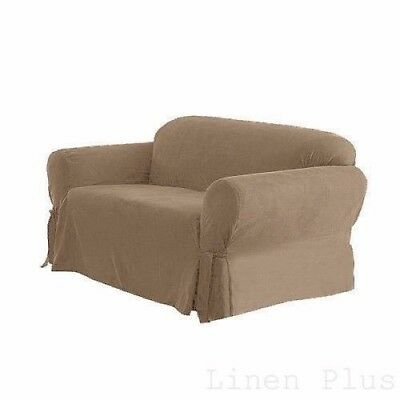 Beige Soft Micro Suede Couch Sofa Slip Cover New ONE Piece Furniture Covers Soft Suede
