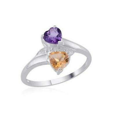 1.40ct Amethyst, Citrine & Topaz Ring in 925 Sterling Silver - Sizes O, P & Q