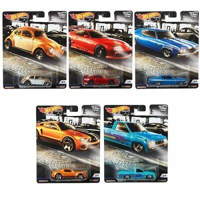 2019 Hot Wheels Cruise Boulevard Set of 5 Cars Car Culture 1/64 Diecast Cars