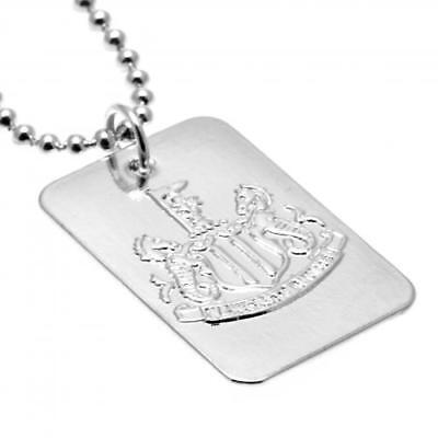 Newcastle United FC Silver Plated Dog Tag Chain Football Club Fan PRESENT...