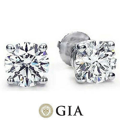3.01 ct Round Diamond Studs Platinum Earrings GIA reports F color VS2 Ideal cut