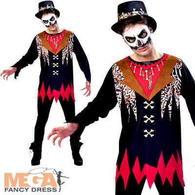 Witch Doctor Mens Fancy Dress Halloween Voodoo King Undead Creepy Adults (Witch King Kostüm)