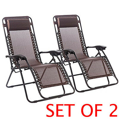 NEW Set of 2 Zero Gravity Reclining Chairs For Lounge Patio Outdoor Yard