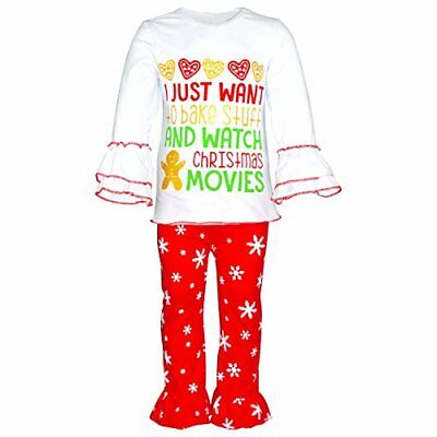 Girl Christmas Cookies Boutique 2 Piece Outfit 2t 3t 4t 5 6 7 8 toddler xmas set ()