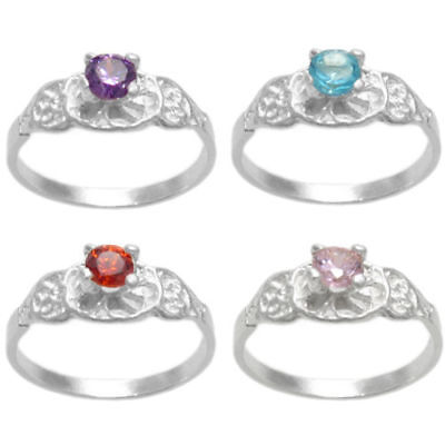 Kids Birthstone Rings (925 Sterling Silver Baby Round CZ Birthstone Ring Size 3 or)