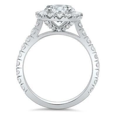 1.90 Ct Halo Round Cut U-Setting Diamond Engagement Ring H Color VS2 GIA 3x Ex 1