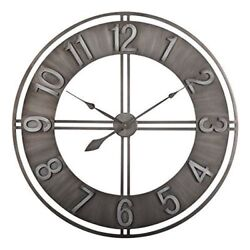 Large Wall Clock Analog Time Outdoor Indoor Patio Pool Brushed Metal 30 Inch S