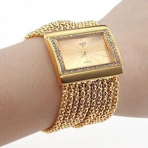 New-Classic-Fashion-Quartz-Womens-Gold-Diamond-Case-Alloy-Band-Bracelet-Watch