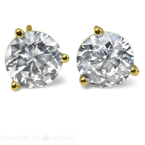 1.1 Ct Round Stud Diamond Earrings Si2/d 18k Yellow Gold Engagement, Enhanced