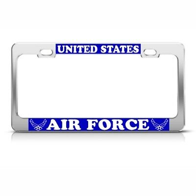 US UNITED STATES AIR FORCE METAL MILITARY License Plate Frame Tag Holder