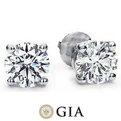 1.22 ct Round Diamond Studs Platinum Earrings with GIA cert. H color VS2
