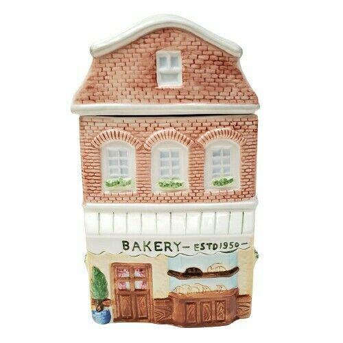 """Vintage Village Bakery Building Cookie Jar 10"""""""