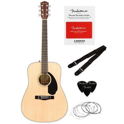 Fender CD-60S 6-String Acoustic Guitar Dreadnought Pack, Natural W/Fender Card