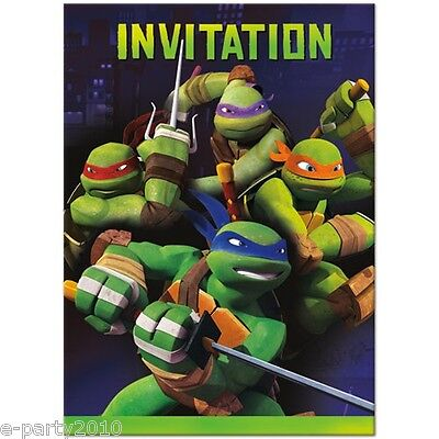 TEENAGE MUTANT NINJA TURTLES INVITATIONS (8) ~ Birthday Party Supplies Invites - Ninja Turtle Party Invitations