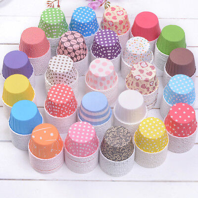 Random 100 pcs Cupcake Liner Baking Cups Mold Paper Muffin Cases Cake Tool YH