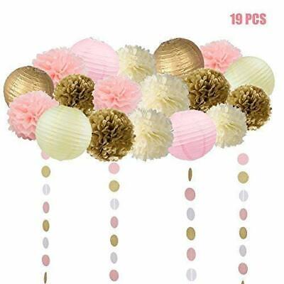 19 Pcs Pink and Gold Tissue Paper Flowers Pom Poms Lanterns and Garland