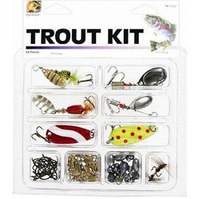 Danielson Fishing Trout Kit With Lures And Tackle  68 Pieces