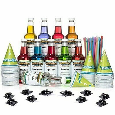 Party Fun Hawaiian Shaved Ice Syrup 10 Pack With Accessories