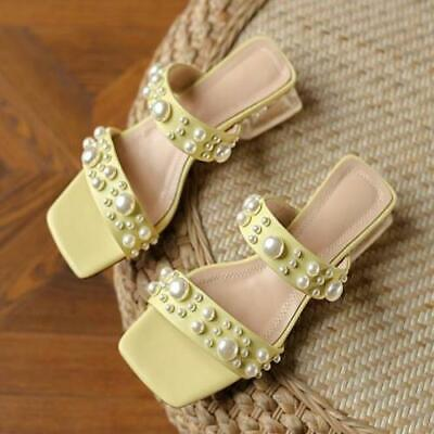 как выглядит Womens Fashion Summer Peep Toe Pearls Slippers Clear Pumps Mid Heels Sandals фото