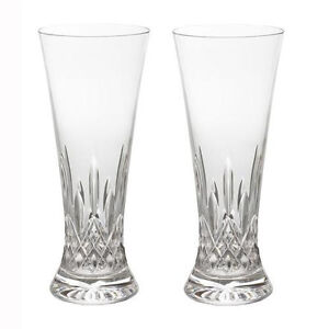 Pair of Waterford Crystal Lismore Pilsner Beer Glasses *New in Box*