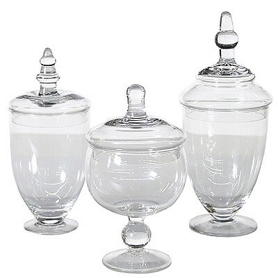 Apothecary Jar, Glass- Set of 3 use for Candy Buffet ](Candy Jar Buffet Set)