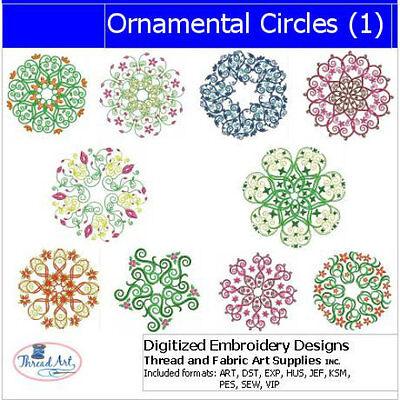 Embroidery Design Set - Ornamental Circles - 10 Designs - 9 Formats - USB Stick