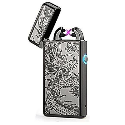 USB Electric Dual Arc Flameless Torch Rechargeable Windproof Lighter - Flameless Lighter