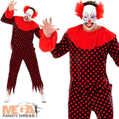Scary Clown Mens Fancy Dress Horror Circus Joker Adults Halloween Costume Outfit