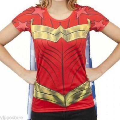 DC Comics Licensed Wonder Woman Suit Up Sublimated Caped Tee Custume T-Shirt  (Wonder Woman Caped T Shirt)
