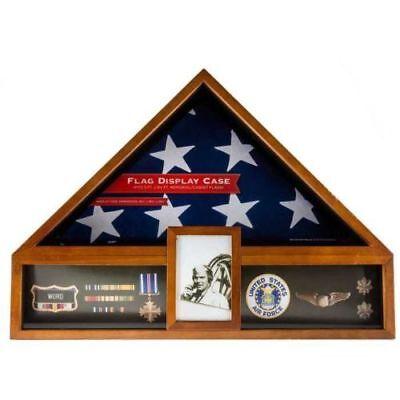 American Flag Display Case Oak Military Memorial Shadow Box Veteran Exhibit
