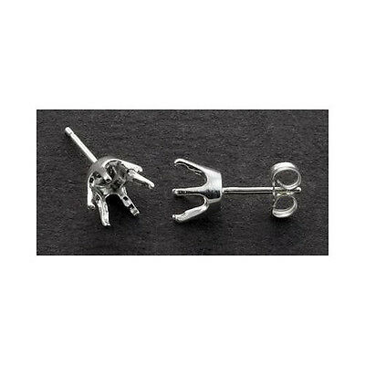 1 Pair ( 3mm - 8mm) Round 6-Prong Solid Sterling Silver Earring -