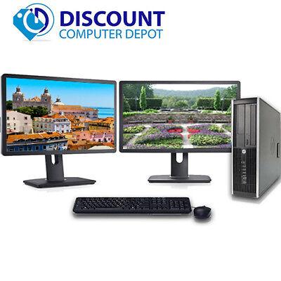 """Fast HP Pro Desktop Computer i3 3.1GHz 4GB 250GB Dual 17"""" LCD's Windows 10 Pro"""