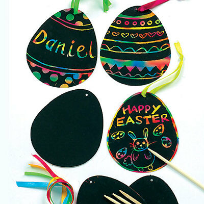 12 Easter Egg Scratch Art Decorations Kids Craft Activity Create Design Display (Scratch Art Designs)