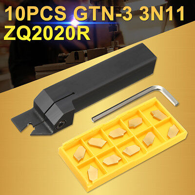 10pcs Gtn-3 Sp300 Inserts W 20mm Parting Grooving Cut Off Tool Holder Zq2020r-3