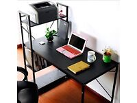 Computer Desk + 4 Tier Bookcase Large Storage Shelves + Breathable Fabric Chair (Height Adjustable )