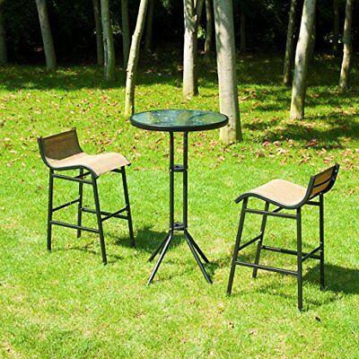 Garden Bar Chair (3pc Outdoor Patio Bar Table Chairs Bistro Set Garden Pool Backyard Furniture )