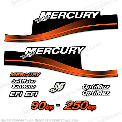 Mercury Custom Color Orange Decal Kit, 90,115,125,135,140,150,175,200,225,250