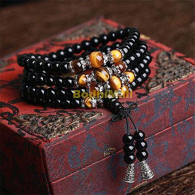 - Tibetan Black Onyx 108 Beads Bracelet Tiger Eye Chain Bracelet