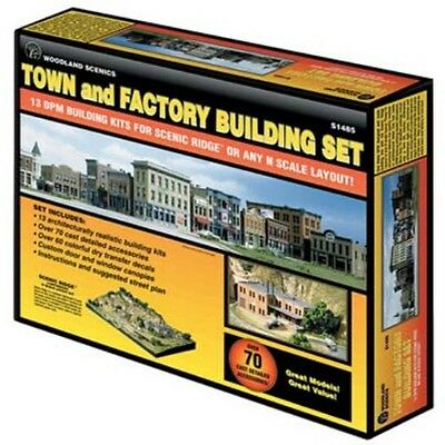 Woodland Scenics S1485 N Town & Factory Set Structure Kit
