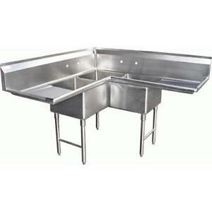 3 compartment bar sinks - Three Compartment Kitchen Sink