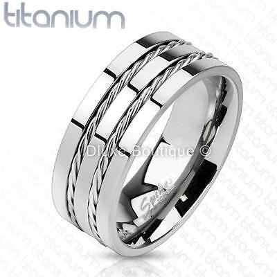 Men's 8mm Solid Titanium Double Rope Inlay Comfort Fit Ring Band Size 8-13 Comfort Fit Rope Ring