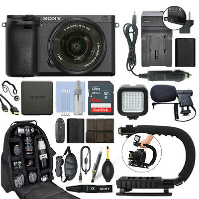 Sony Alpha a6400 Mirrorless Digital Camera with 16-50mm Lens+ 64GB Pro Video Kit Digital Camera Pro Kit