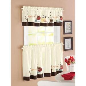 Coffee Espresso Latte Cafe Ivory Brown Kitchen Curtains Tiers Valance Set Ebay