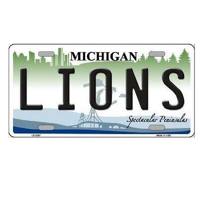 Detroit Lions Michigan State Background Novelty Metal License Plate 6