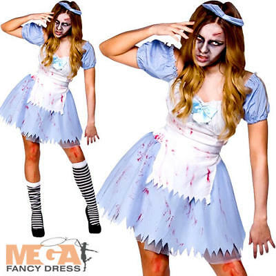 Zombie Alice in Zombieland Halloween Fairytale Fancy Dress Costume Ladies Outfit - Zombieland Costumes Halloween