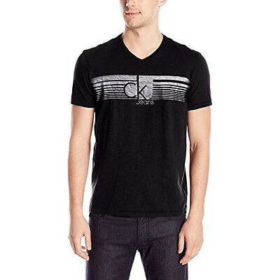 New! Calvin Klein Jeans Lined Ck Men's V Neck Tee T-Shirt, Small