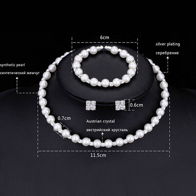 1set New Pearl Crystal Bridesmaid Wedding Jewelry Set Necklace Bracelet EarrinQP ()